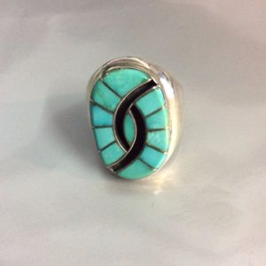 Inlayed Turquoise & onyx Stone Ring Heavy Sterling Silver Setting Signed E/B 1