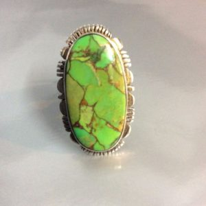 Larger Oval Green Turquoise Stone heavy silver Setting Signed S-Star 1