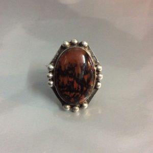Jasper Bloodstone Ring Sterling Silver Arrow Engraved Band 1