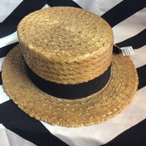 Vintage Keith Straw Hat Vaudeville Style Hat Black Band 1