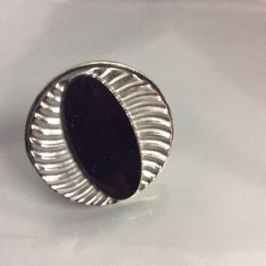 CAT EYE Art Deco Glass Button Cocktail Ring 1