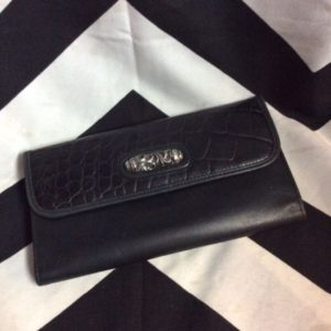 LEATHER CROC EMBOSSED LEATHER WALLET SILVER HARDWARE 1