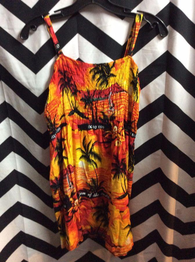 product details: SHORT LENGTH DRESS W/ SPAGHETTI STRAPS & HAWAIIAN PALM TREE PRINT photo