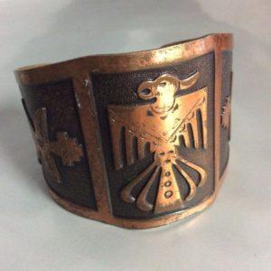 Wide Bronze Aztec Birds Design Cuff 1