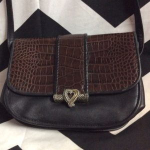 LEATHER CROSSBODY PURSE FAUX CROC METAL HEART PENDANT 1