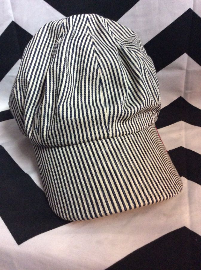 LEVIS TRAIN CONDUCTOR HAT – BASEBALL CAP STYLE – SKINNY STRIPED DESIGN –  FITTED BACK f956a32fa86