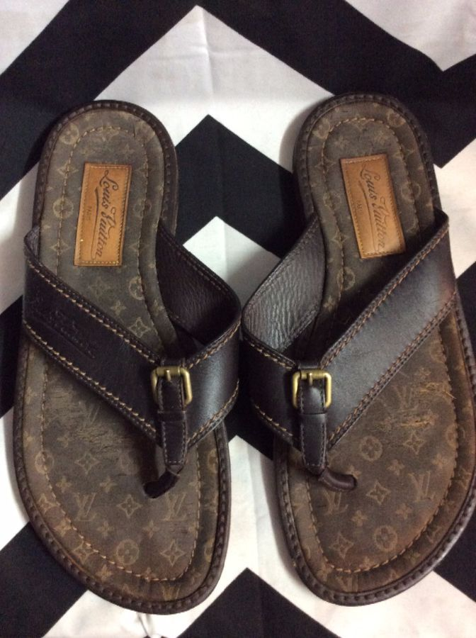 LOUIS VUITTON MONOGRAM LEATHER SANDALS as-is 1