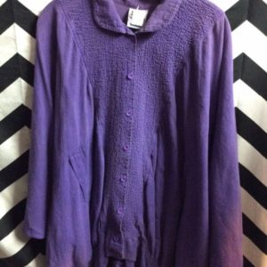 Purple Cotton oversized arms button up shirt 1