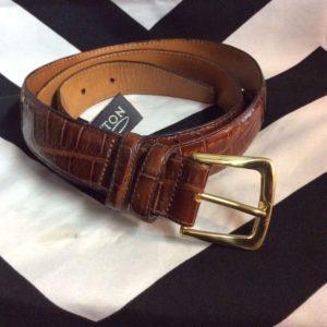 EMBOSSED Calfskin Saddle Leather Belt 1