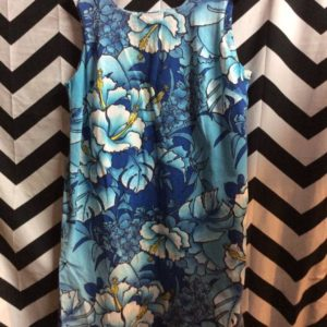 Blue Floral Hawaiian Style Pattern Dress 1
