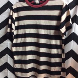 TSHIRT Vintage Thin Soft Red Collar Black Stripes 1