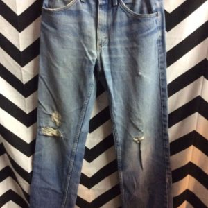 Perfectly Worn and broken in Retro Lee denim jeans Shred Holes 1