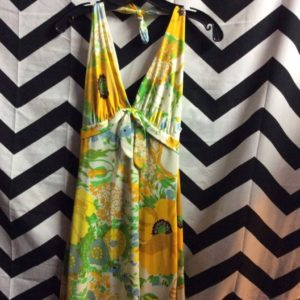 LONG TIE TANK DRESS DAISY FLORAL PATTERN TIED WAIST 1