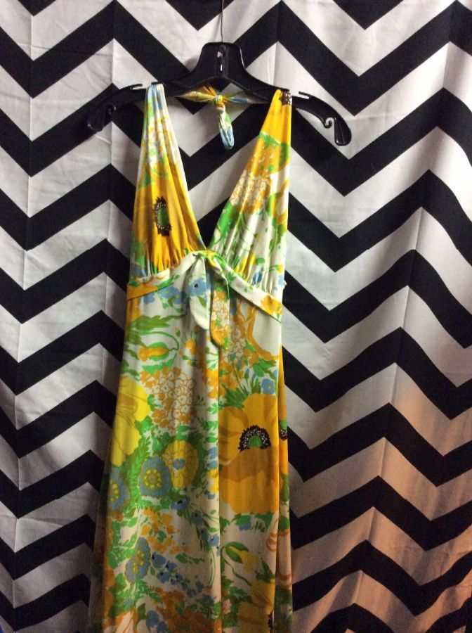 product details: 1960'S HALTER DRESS - LONG - EMPIRE WAIST W/TIE - BRIGHT FLORAL PATTERN photo