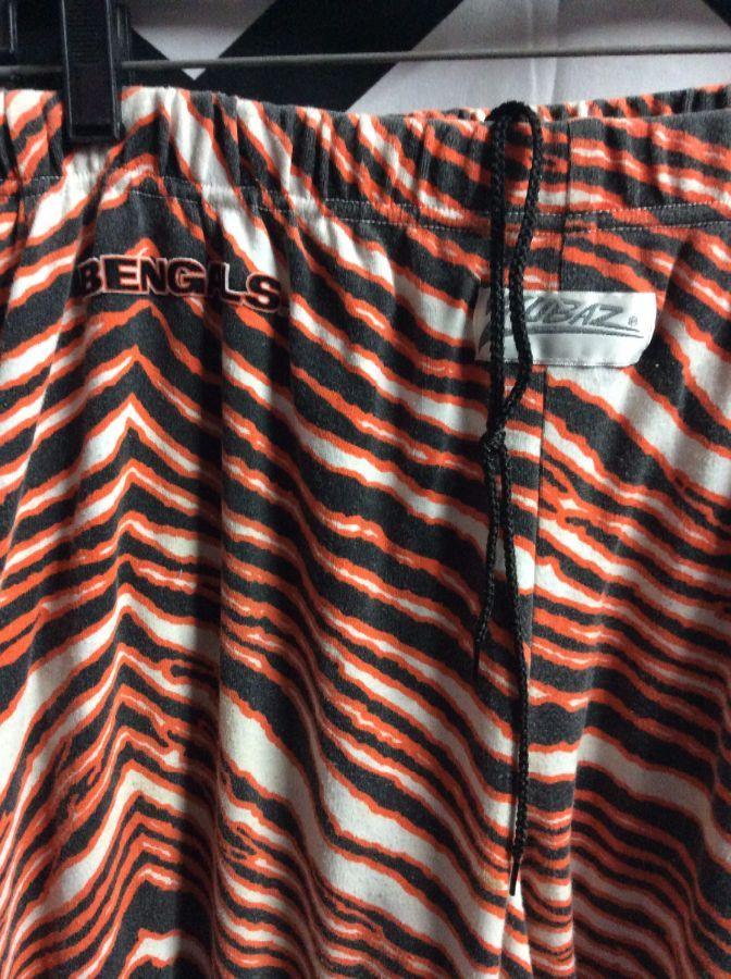 ZUBAZ PANTS CINCINNATI BENGALS WORKOUT PANTS TIGER PATTERN Enchanting Tiger Pattern