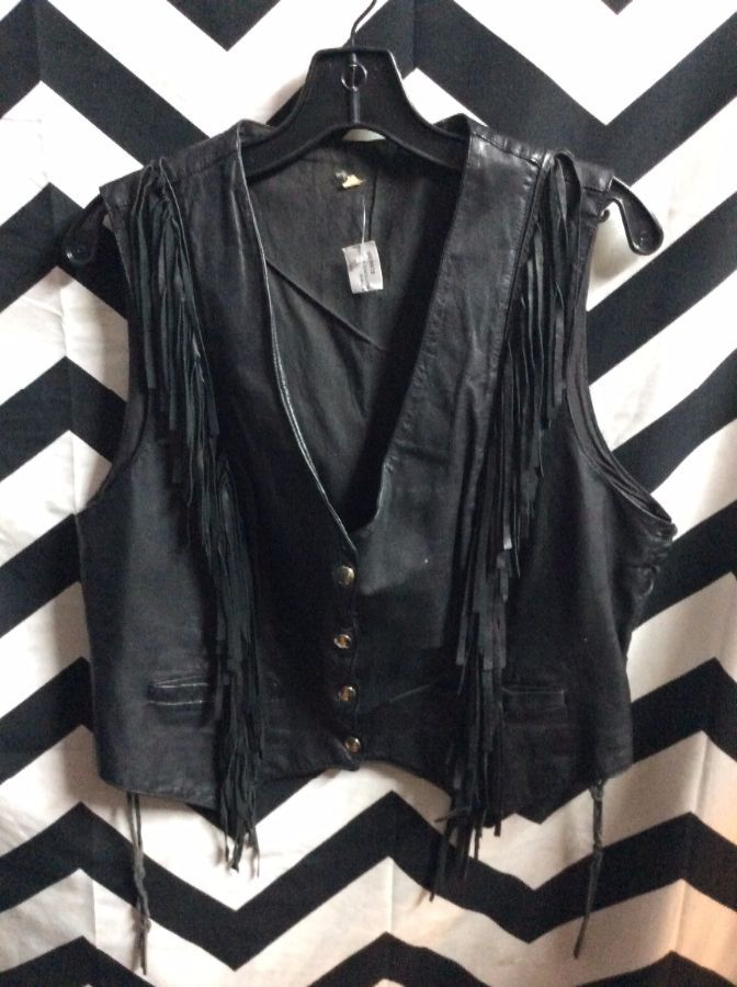 SUPER THIN SOFT LEATHER FRINGE VEST SILVER BUTTONS 1