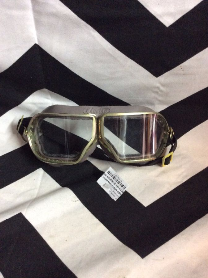 59d8b9cc6c Vintage USSR Aviator Style motorcycle goggles METAL FRAME GLASS LENSE 2