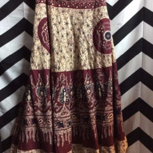 MAROON CREAM PATTERN WRAP AROUND SKIRT 1