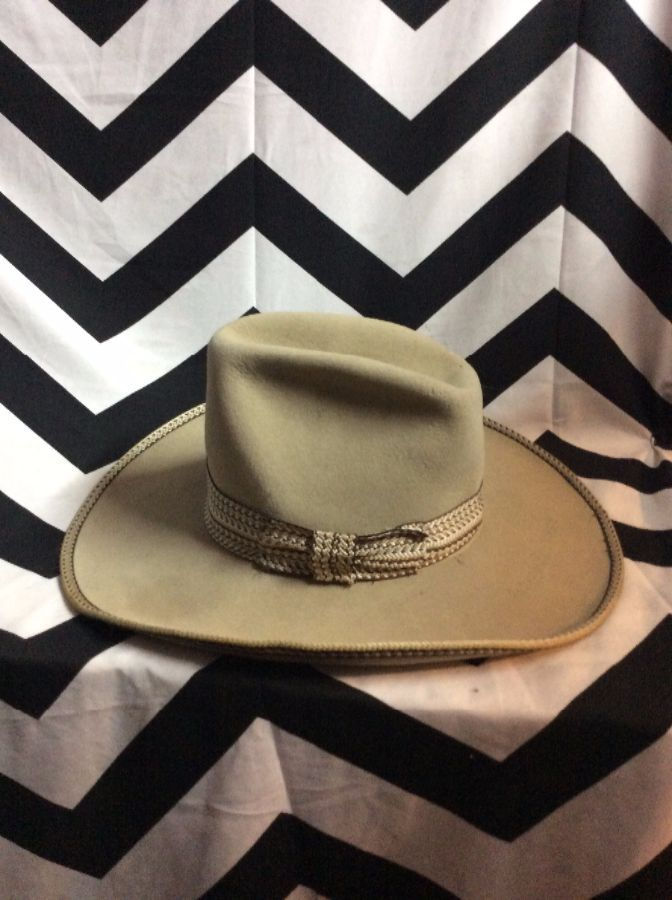 VINTAGE COWBOY HAT - FELT - RESISTOL - EMBROIDERED BAND   BRIM » Boardwalk  Vintage 655725bbb4b
