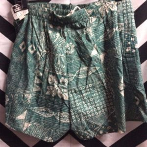 LEAF FLOWER ORGANIC PATTERN WOOLRICH SWIM SHORTS *DEADSTOCK 1