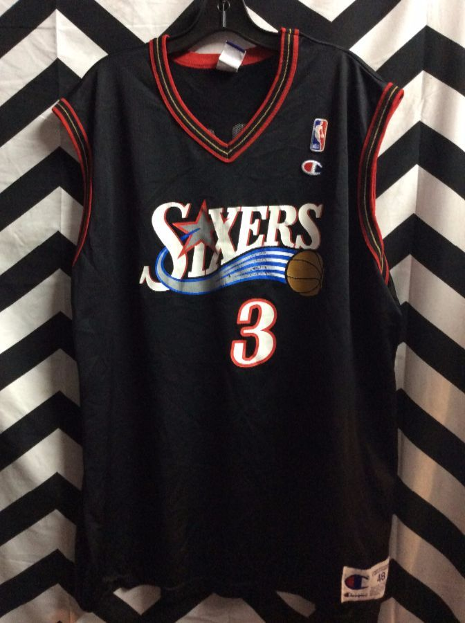 hot sales a1cac 51ad4 CHAMPION BASKETBALL JERSEY - SIXERS - IVERSON #3 - SCREEN PRINTED FRONT  GRAPIC