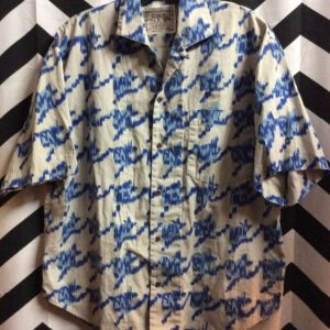 SS BD BLUE ORGANIC GEOMETRIC PATTERN SHIRT 1