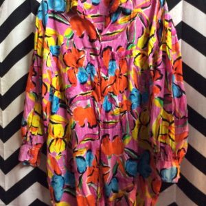 LS BD BRIGHT FLORAL PATTERN OVERSIZE FRONT POCKETS SHIRT 1