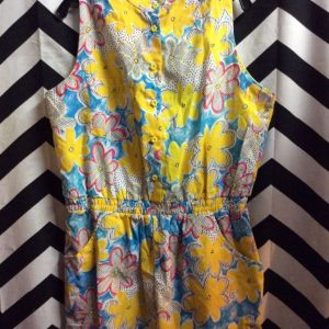 DEADSTOCK BRIGHT PRINTED COTTON PLAYSUIT ROMPER SUNFLOWER BUTTONS 1