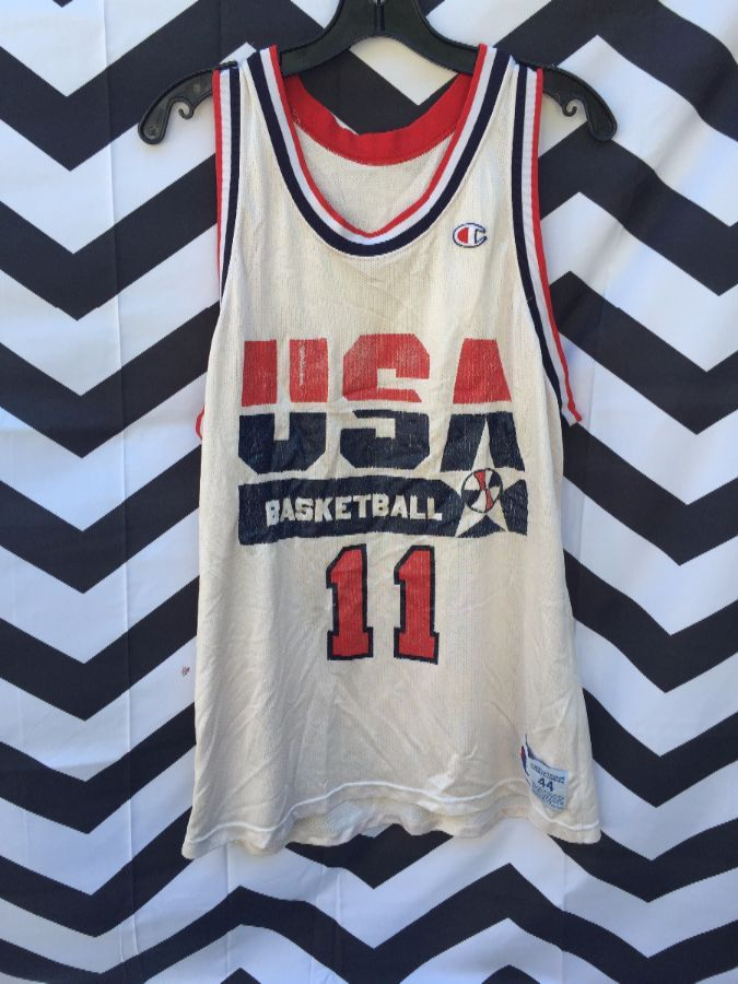 hot sale online e50ae adc61 CHAMPION BASKETBALL JERSEY, USA DREAM TEAM #11 KARL MALONE, NBA