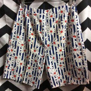 1960S Vintage High Waist Shorts Daisy PRINT Side Zip 1