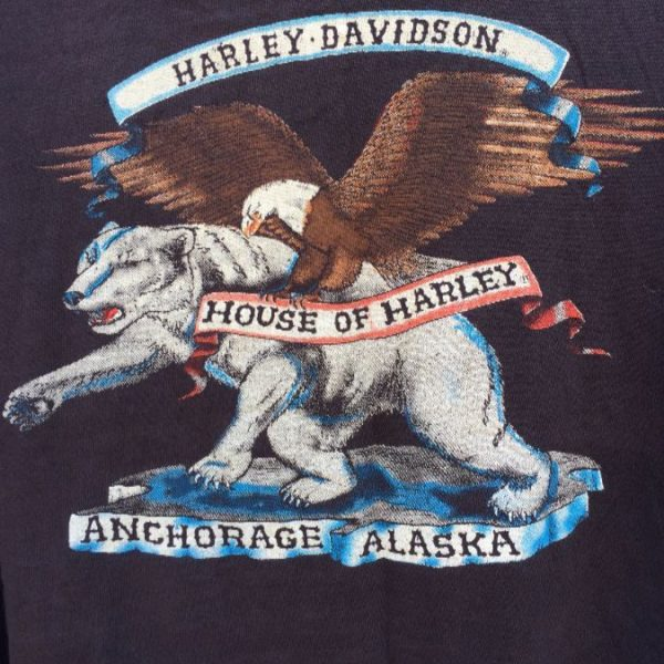 VINTAGE HARLEY DAVIDSON TSHIRT 1987 HOUSE OF HARLEY ANCHORAGE, ALASKA RARE  THIN SOFT 2