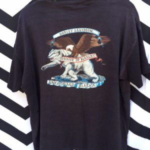VINTAGE HARLEY DAVIDSON TSHIRT 1987 HOUSE OF HARLEY ANCHORAGE, ALASKA RARE THIN SOFT 1