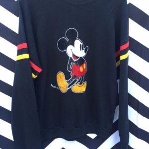 PULLOVER SWEATSHIRT RETRO FLOCKED MICKEY MOUSE STRIPED ARMS 1