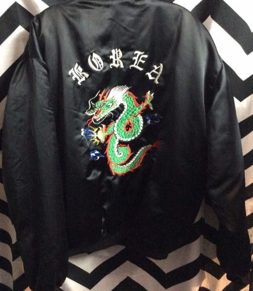 SILK EMBROIDERED KOREA TOUR JACKET DRAGON US COAST GAURD 1