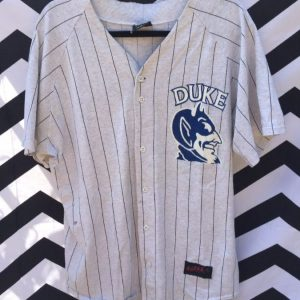 SS BD BASEBALL JERSEY COTTON PINSTRIPES DUKE BLUE DEVILS RARE 1