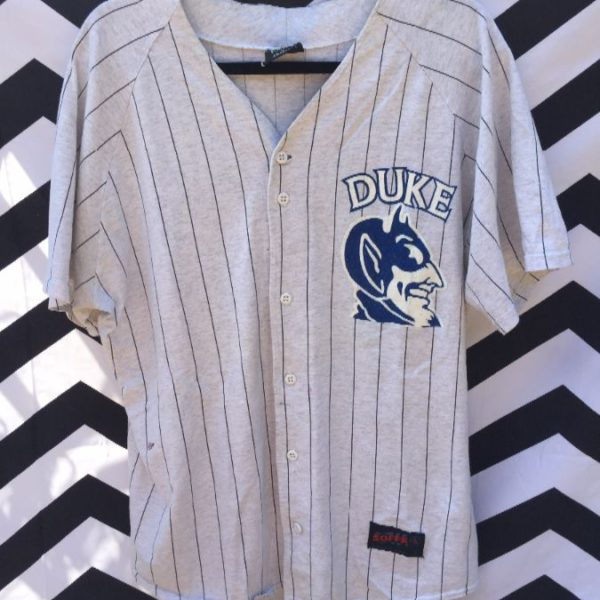 separation shoes 251bb 09b91 RARE BASEBALL JERSEY, COTTON, DUKE BLUE DEVILS, PINSTRIPED FABRIC