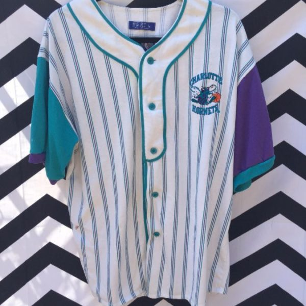 super popular cd4c5 50c18 STARTER BASEBALL JERSEY, COTTON, CHARLOTTE HORNETS W/EMBROIDERED LOGO &  LETTERING, PINSTRIPED FABRIC