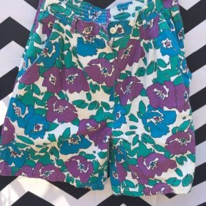 1980S FUNKY HAWAIIAN STYLE PRINTED COTTON SHORTS 1
