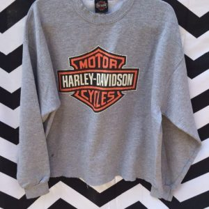 PULLOVER SWEATSHIRT HARLEY DAVIDSON HOUSTON LOGO CROPPED BOTTOM 1