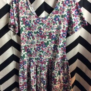 90s MINI DRESS COTTON FLOWER PRINT LACE UP BACK 1