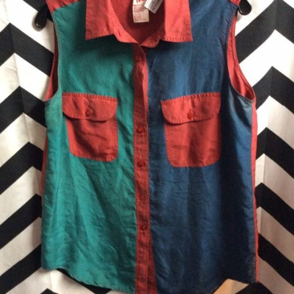 product details: NO BOUNDARIES BLOUSE, SILK SLEEVELESS BUTTON-UP,  COLOR BLOCK DESIGN W/CONTRASTING COLOR ACCENT photo