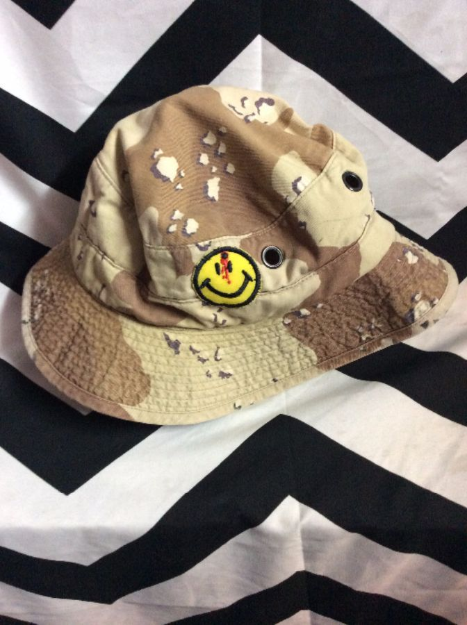 7faa6fa970898 BUCKET HAT DESERT CAMO with Patches » Boardwalk Vintage