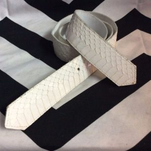 PYTHON SNAKE SKIN LEATHER BELT WHITE *NO BUCKLE 1