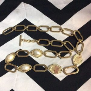 OVERSIZE GOLD CHAIN FAUX PEARL ACCENT BELT 1