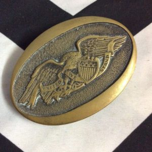 EMBOSSED USA EAGLE BRASS BUCKLE UNITED WE STAND 1