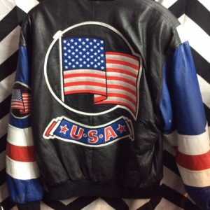 LEATHER BOMBER JACKET AMERICAN FLAG 1