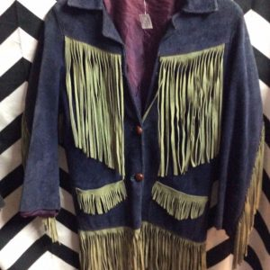 1970S SMALL FIT NAVY BLUE SUEDE FRINGE JACKET #RARE 1