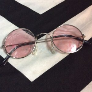 RETRO THIN CHROME FRAME PINK SHADE SUNGLASSES 1