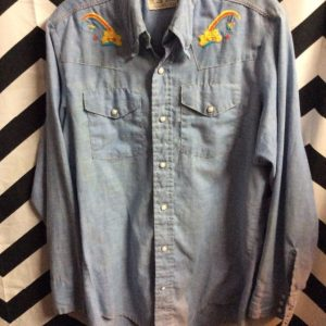 LS BD CHAMBRAY DENIIM SHIRT RAINBOW EMBROIDERY 1