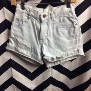 PERFECT LITTLE BLEACHED DENIM JEAN SHORTS FOLDED CUFF HEM 1